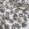 100 Assorted Tibetan Silver Love Heart Charms 8-18mm Selection 6 Designs